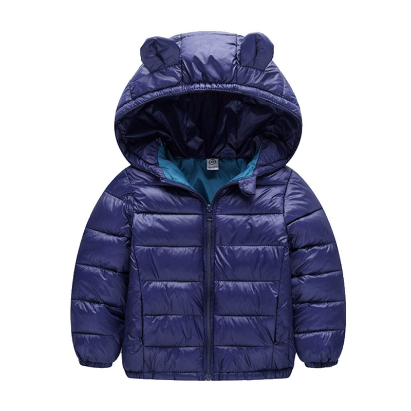 Autumn Winter Children Kids Boys Girls Solid Full Sleeve Jacket Coat Tops Clothes 4-7T Cute Ears Down Cotton Hooded Clothing стоимость