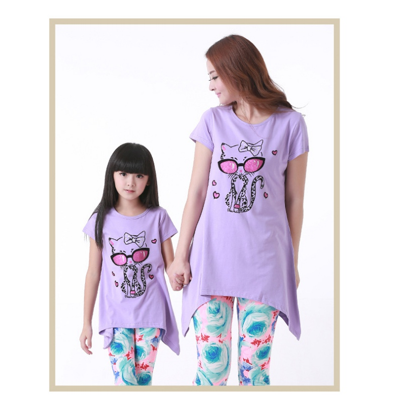 Family Matching Clothes Cute Cotton Cartoon Cat Sets Clothes Mother Child Suit Short Sleeve Familys Clothes