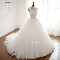 Real Photo Robe De Mariage Wedding Dress 2018 Ball Gown Boat Neck Custom Made Vestidos De