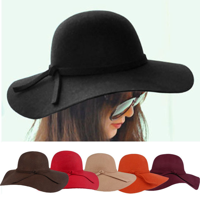 2016 Fashion New Vintage Women Ladies Floppy Wide Brim Wool Felt Fedora Cloche Hat Cap 6 Color Free Shipping R2