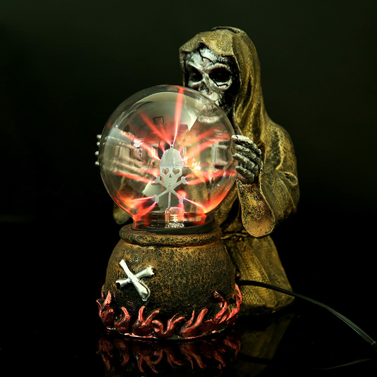Witch & Skeleton Electrostatic Plasma Ball Sphere Light Magic Crystal And holiday Lamp for Household/Office Desktop Decorations