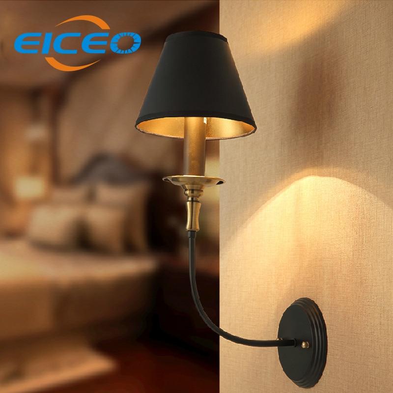 ФОТО (EICEO) American Retro Minimalist Bedroom Wall Bedside Lamp Creative Personality Iron Wall Lighting Sconce AC220V
