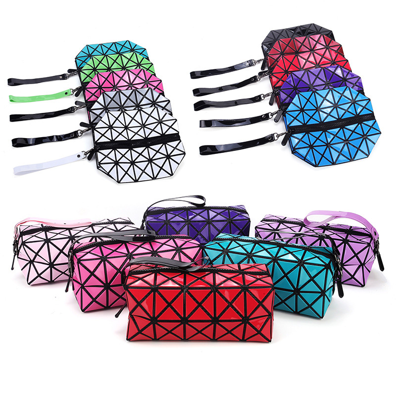 Fashion Portable Makeup Bag Folding Package PU Leather Makeup Bags Women Geometric Zipper Cosmetic Bag Mini Bolso Organizer Bags