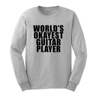 Loo Show Mens World's Okayest Guitar Player Long Sleeve Guitarist T Shirts Casual Men Tee