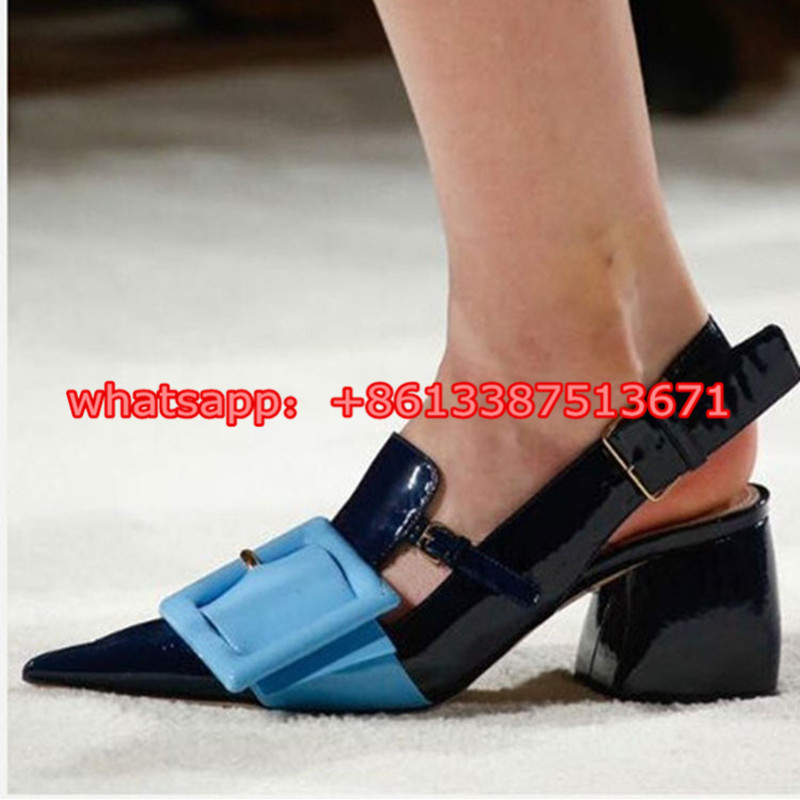 ФОТО 2017 Spring Autumn Generous Patent Leather Women Pumps Pointed Toe Back Big Buckle Chunky Heels Shoes Lady Dress Shoes Woman
