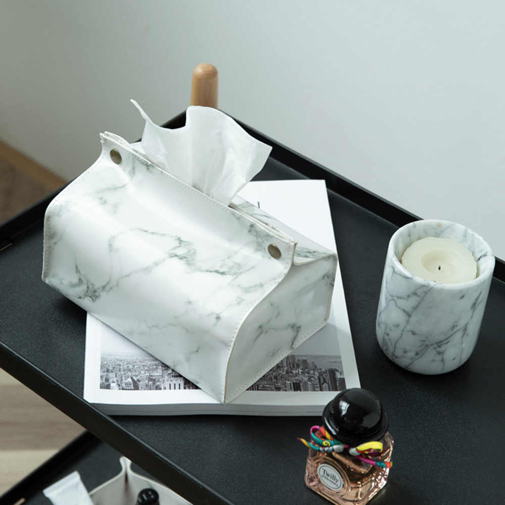 Nordic Marble Grain Paper Towel Storage Bag Bedside Car Tissue Case Tote Simple White PU Leather Organizer Box Home Decor