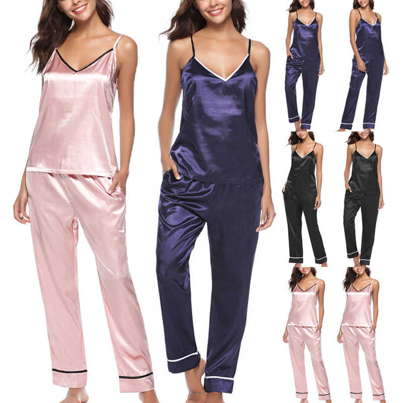 Summer Women Lady Silk Satin Pajamas Sets Solid V-neck Tank Pants Pyjama Sleepwear Nightwear Loungewear Homewear