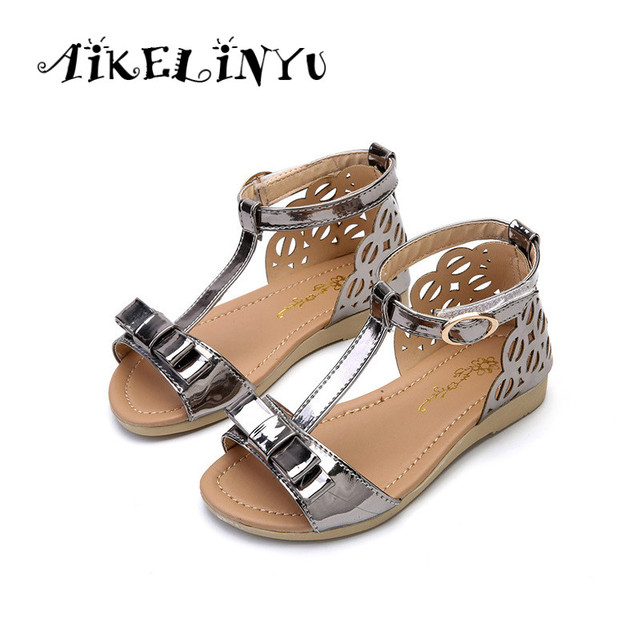 Kids Baby Girl T-Strap Shiny Leather Sandals Summer shoes girls casual shoes  Girl dew toe sandals Kids Bow Princess Flat Shoes 6face7f4fe08