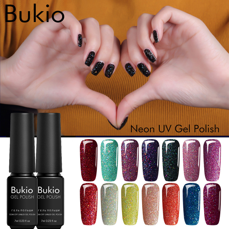Detail Feedback Questions about Bukio Gel Varnish 19 Colors Sparkles ...