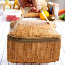 Picnic Container Portable Inner Aluminum Film Lunch Bag Imitation Rattan Insulated Thermal Cooler Lunch Box(China)