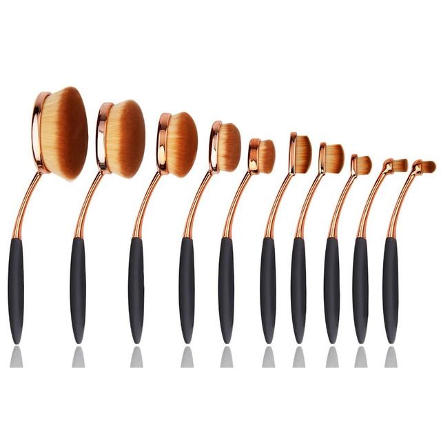 10pcs Rose Gold Toothbrush Makeup Brush Professional Toothbrush Makeup Brush Oval Brushes Set Kits Multipurpose Makeup Brush