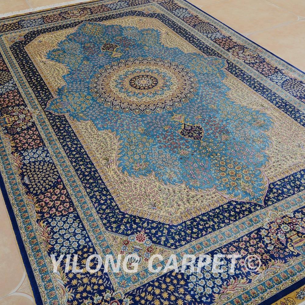 Yilong 6'x9 'Vantage ръчно заплетен син килим - Домашен текстил - Снимка 3