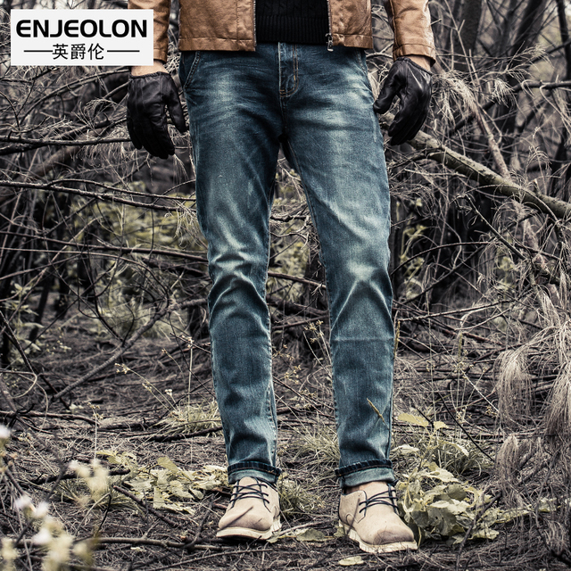Enjeolon brand spring quality casual long trousers men jeans pants men cotton jeans pants males Causal blue jeans Pants K6003