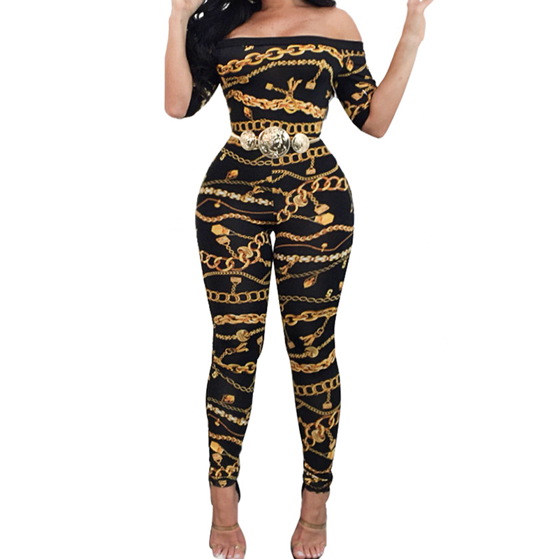 2018 Spring Autumn Off Shoulder Printed Jumpsuits Long Pants For Women Elegant Fitness Short Sleeve Playsuit Sexy Club Rompers ...