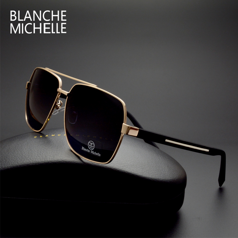 18bb992b97d5 High Quality Square Sunglasses Men Polarized UV400 Fashion Sunglass Mirror  Sport sun glasses Oversized Driving Gold frame oculos-in Sunglasses from  Apparel ...