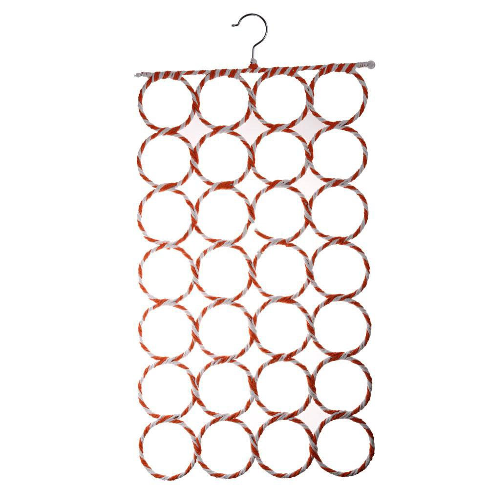 LHBL 28-hole Ring Rope Holder Hook Scarf Wraps Shawl Storage Hanger