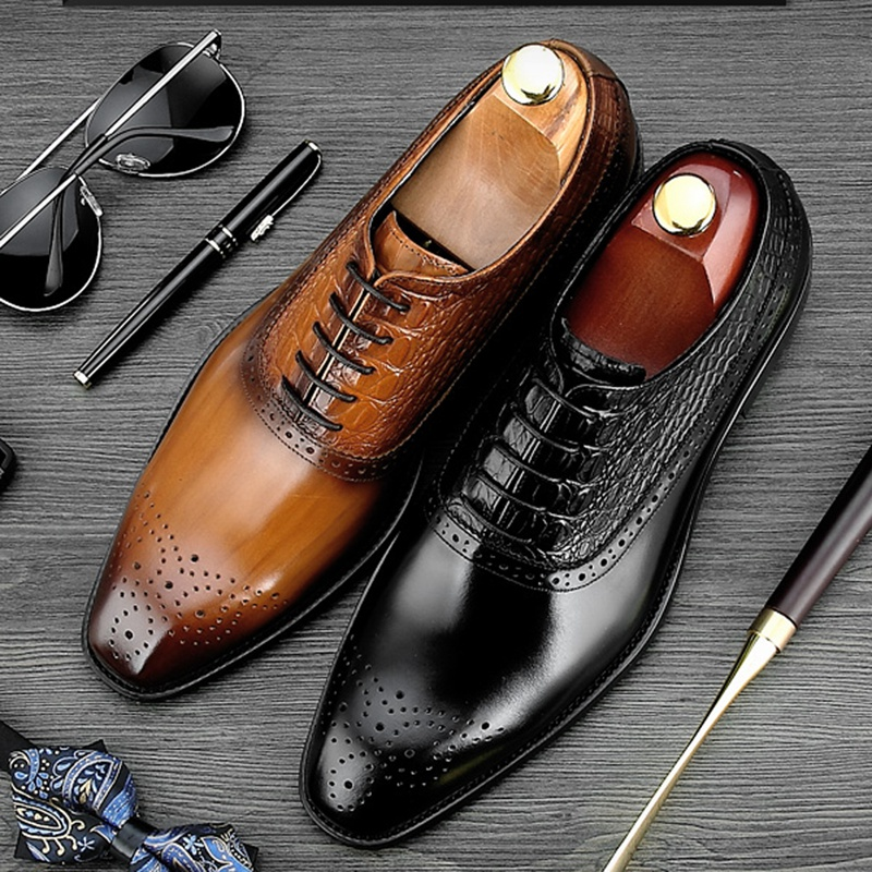 все цены на New Arrival Round Toe Man Formal Dress Shoes Genuine Leather Alligator Brogue Footwear Men's Handmade Wedding Party Oxfords NE48 онлайн