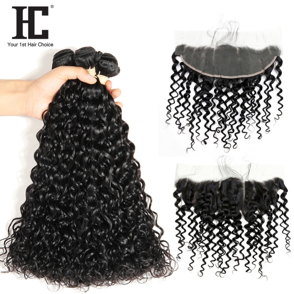 Water Wave Bundle With 13x4 Frontal Closure Human Hair 3 Bundles With Lace Frontal Non Remy Malaysian Hair Weave With Closure HC