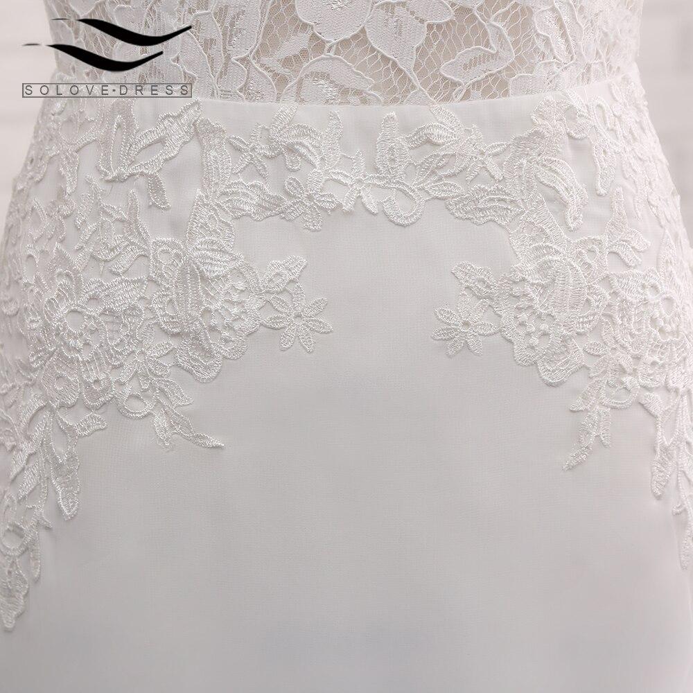 Sexy Chiffon Chapel Train Long Cap Sleeves Wedding Dress Mermaid Real Photos Bridal Gown 2018 SLD-W593 10