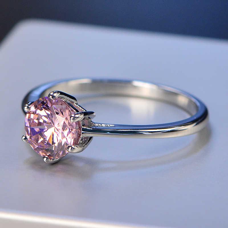 OneRain 100% 925 пробы серебро 7 мм Круглый драгоценный камень по месяцу рождения Свадебное Обручальное простое кольцо ювелирные изделия оптовая продажа Размер 5-12