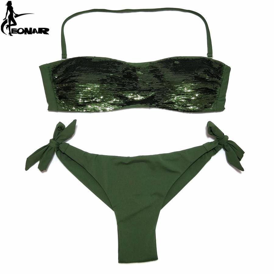 181d142d600c0 EONAR Bikini 2019 Sewn Sequin Women Swimwear Brazilian Cut Bottom Bikini Set  Low Waist Swimsuit Bathing