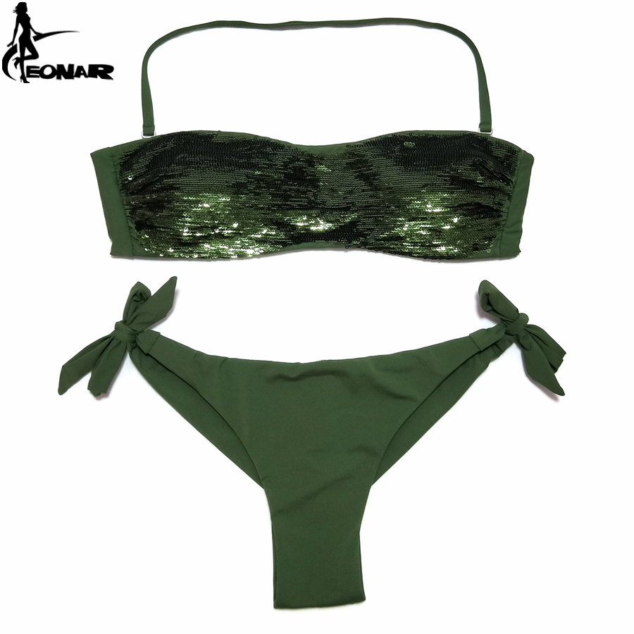 EONAR Bikini 2020 Sewn Sequin Women Swimwear Brazilian Cut Bottom Bikini Set Low Waist Swimsuit  Bathing Suits Summer Beach Wear