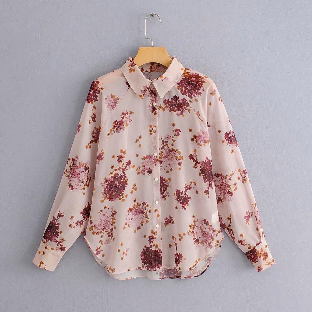 women fashion floral print transparent chiffon Blouse shirt women elegant long sleeve Feminina Blusas chic chemise tops LS3195