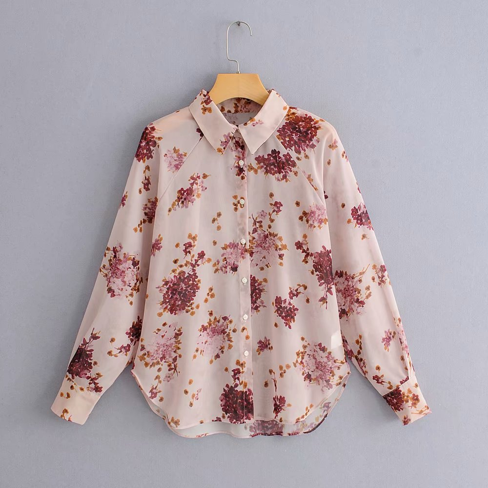 Women Fashion Floral Print Transparent Chiffon Blouse Shirt Women Elegant Long Sleeve Feminina Blusas Chic Chemise Tops LS3195