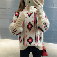 Korean Warm Thick Knit Sweater Women Turleneck Tricot Sweaters And Pullovers Woman Elastic Rhombus Knitwear Female Jumper Tops