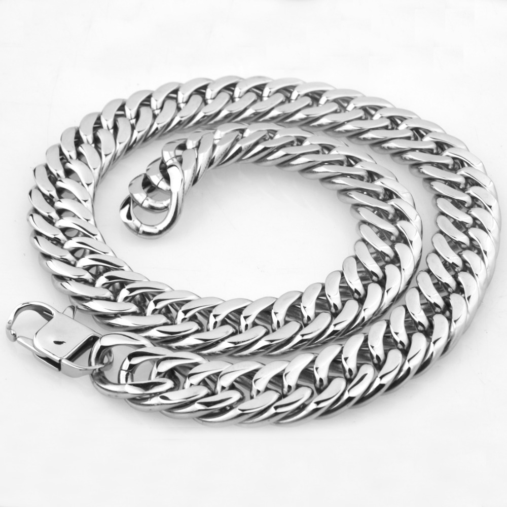 18/21mm Wide Heavy 316L Stainless Steel Silver Double Cuban Curb Link Chain Mens Jewelry Necklace Or Bracelet With Square Buckle