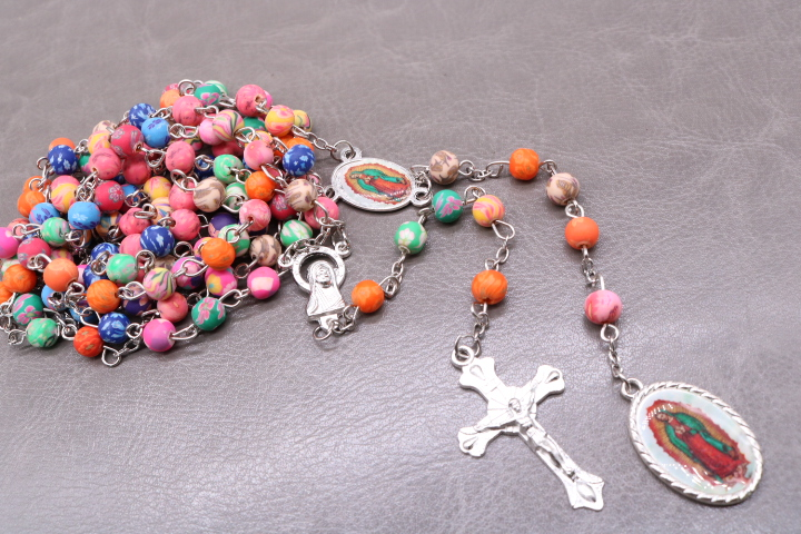 Guadalupe necklace, new 6mm religious necklace polymer clay round beads rosary Catholic necklace charm beads color