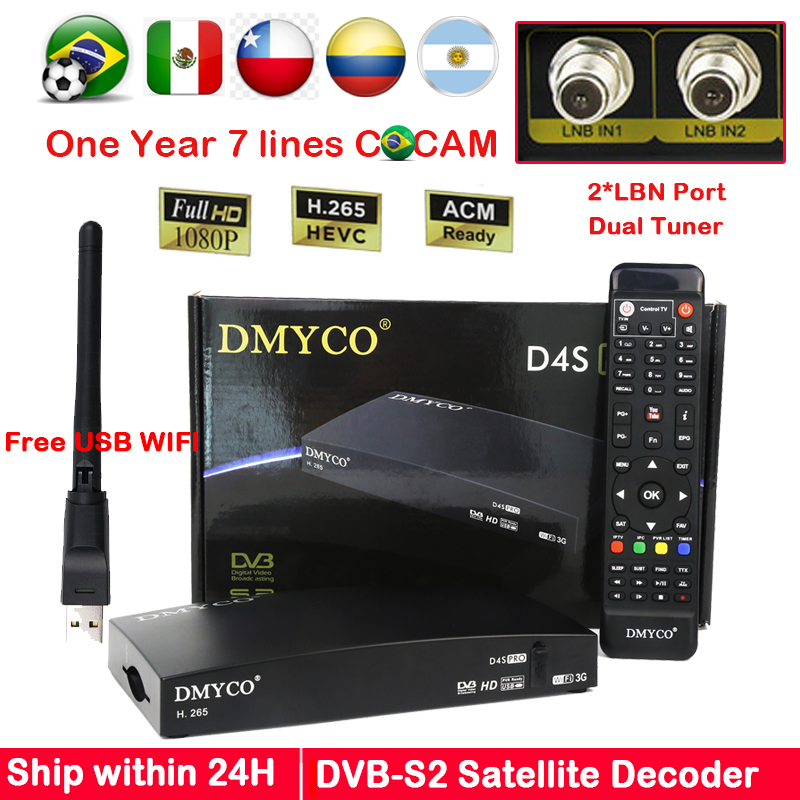 D4SPRO for Europe Digital Satellite Receiver HD 1080P Twin Tuner DVB S2 Receptor Cline Biss Youtube IKS 2*LNB port dual tuner