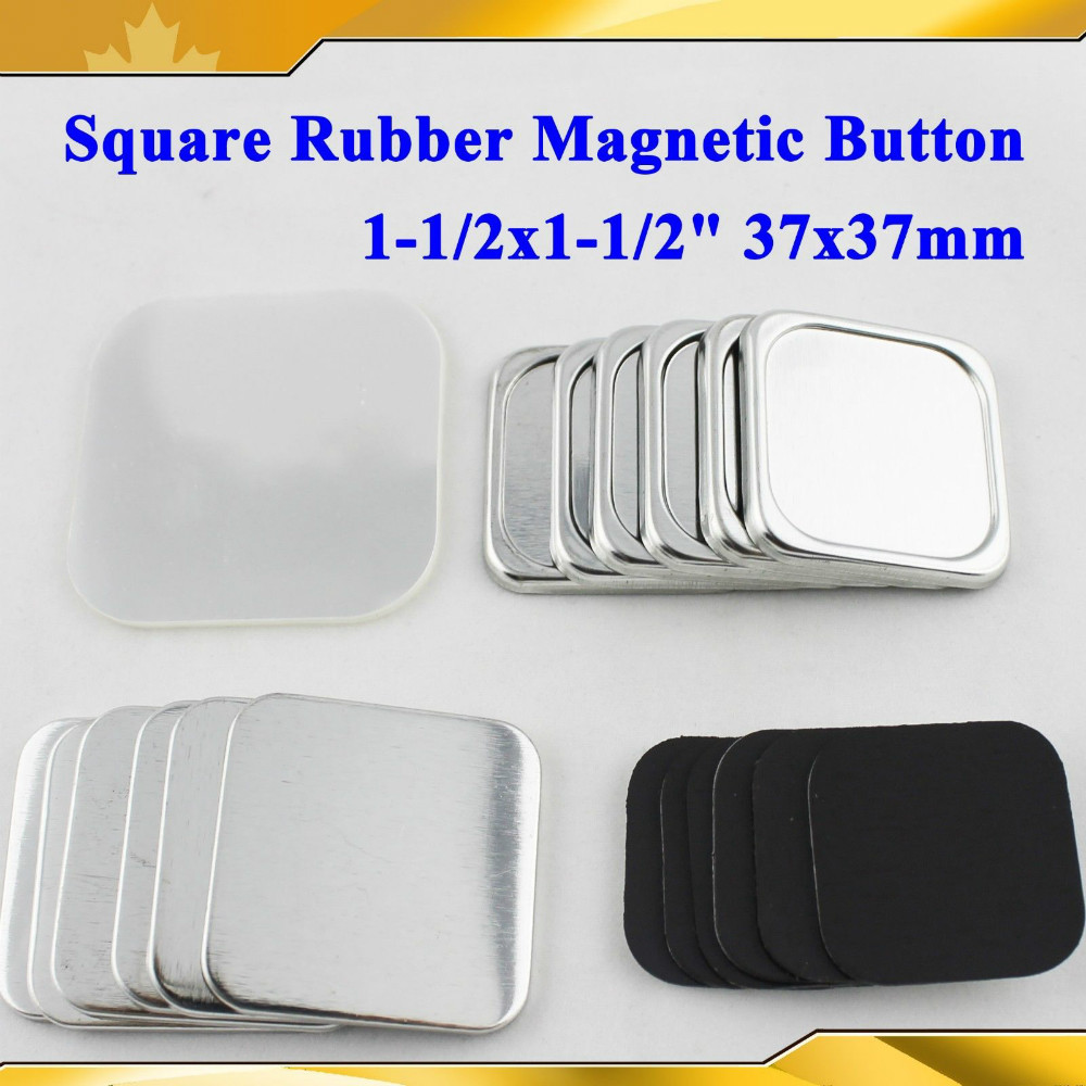 Rational Square 37x37mm 100 Sets New Professional Soft Rubber Magnetic Badge Button Maker Metal Back Button Supply Materials Labels, Indexes & Stamps