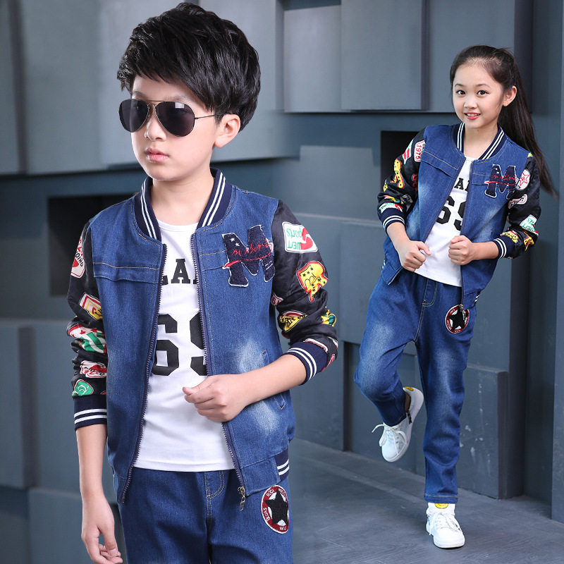 Spring Autumn Kids Boy Fashion 3Pcs Children Clothing Set Long Sleeve T-shirt Denim Coat Trousers Girls Clothes Suit 10 12 Years fashion baby girl t shirt set cotton heart print shirt hole denim cropped trousers casual polka dot children clothing set