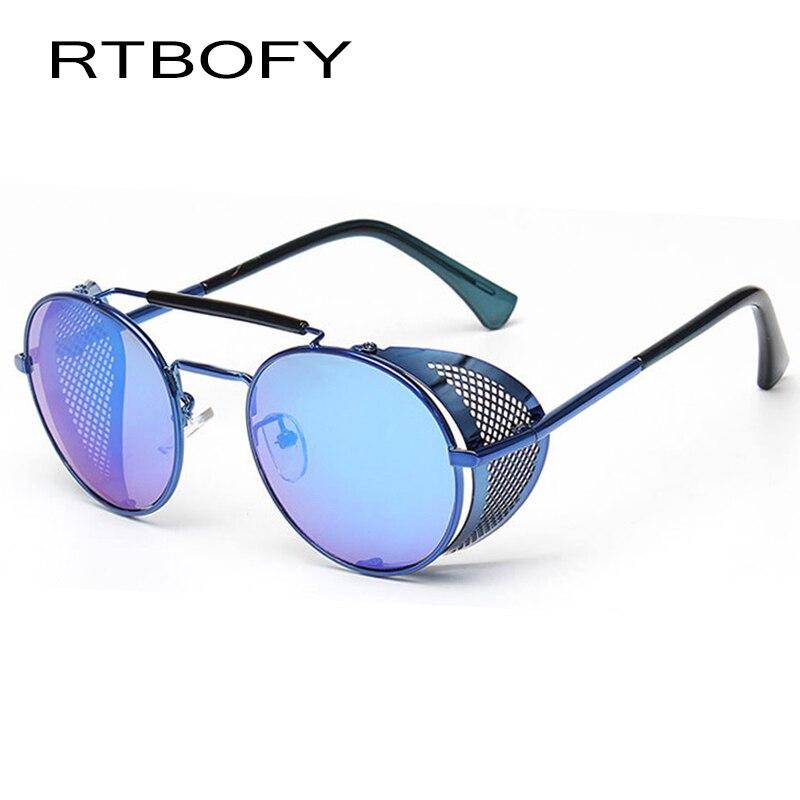 2a4844fb99 RTBOFY Coating Sunglass Steampunk Round Fashion Sunglasses Women 2017 Brand  Designer Steam Punk Metal Retro Sun glasses -in Sunglasses from Apparel ...