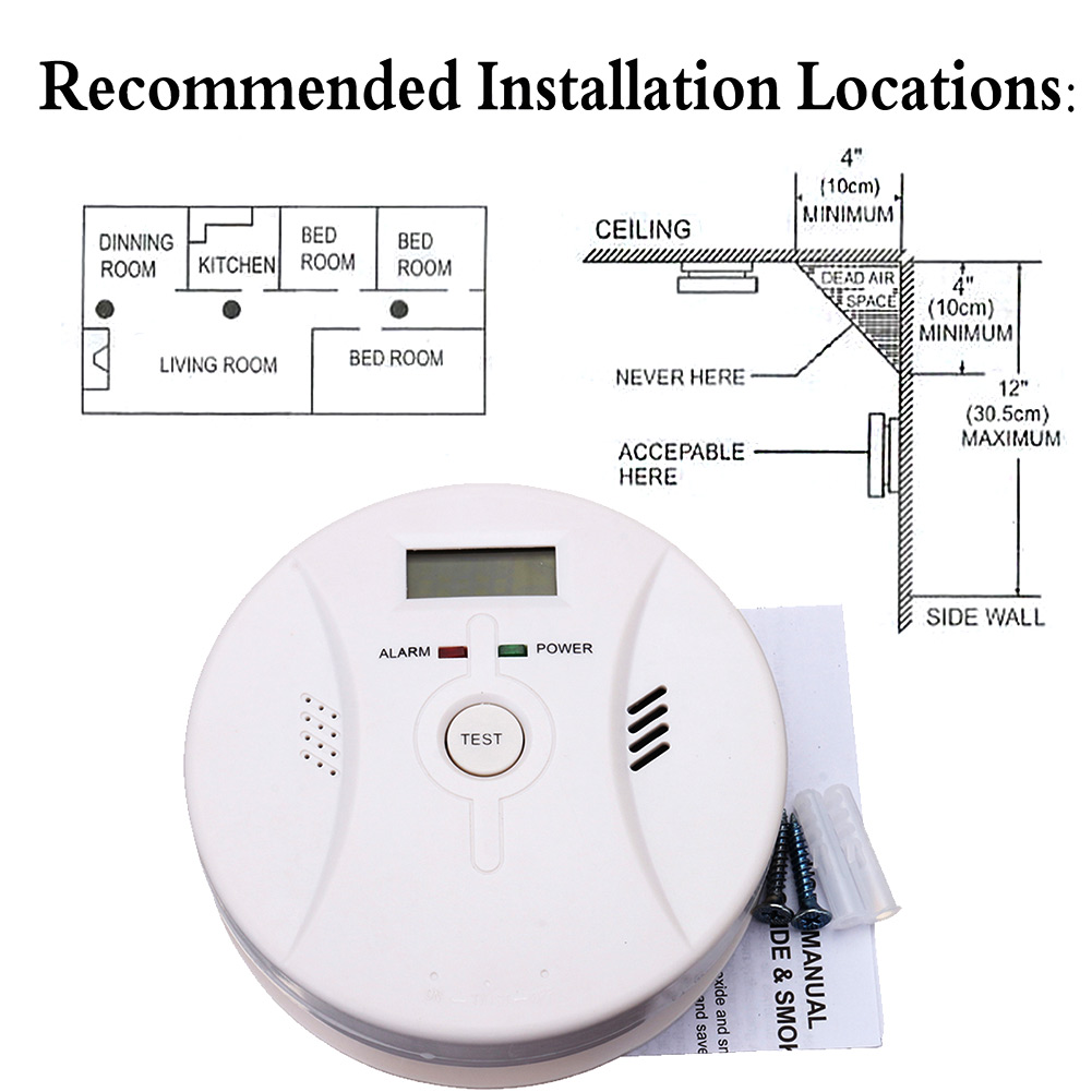 2 In 1 Combination Carbon Monoxide + Smoke Alarm Battery Operate CO & Smoke Detector JLRL88