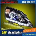 A & T Estilo Del Coche Para Honda CRV faros 2007-2011 Para CRV LED cabeza de la lámpara Angel eye led DRL delantero luz Bi-Xenon Lente de xenón HID