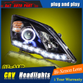 A & T Estilo Do Carro Para Honda CRV faróis Para 2007-2011 CRV LEVOU head lamp Angel eye led DRL luz frontal Lente Bi-Xenon xenon HID