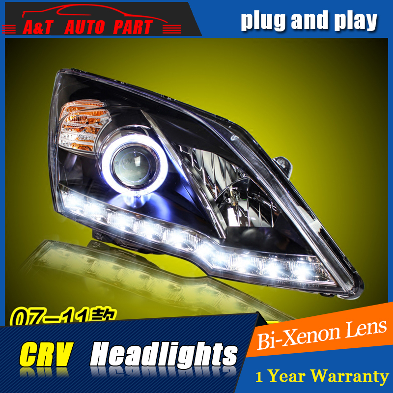 Car Styling For Honda CRV headlight assembly 2007-2011 For CRV LED Angel eye led DRL front light H7 with hid kit 2 pcs. car led headlight bulb with cree chip 8000lm auto lamps h7 h1 led headlamp led h4 motorcycle headlight light for toyota honda