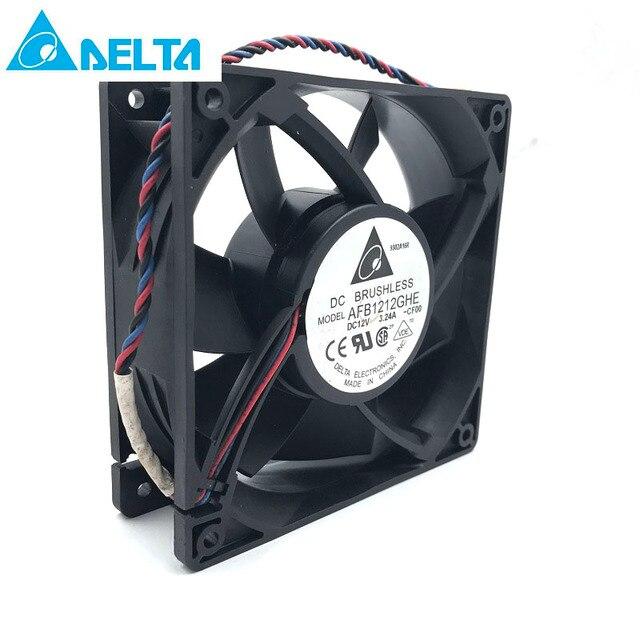 Ventilador do mineiro para a eletrônica delta afb1212ghe 120mm dc 12v 3.24a 3 pinos ventiladores de refrigeração de alta velocidade, 5200rpm 220cfm