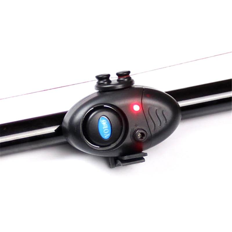 Électronique De Pêche LED Poisson Bite Alarme Sonore de Bell Clip On Canne À Pêche Noir S'attaquer Nuit Canne À Pêche LED Lumières