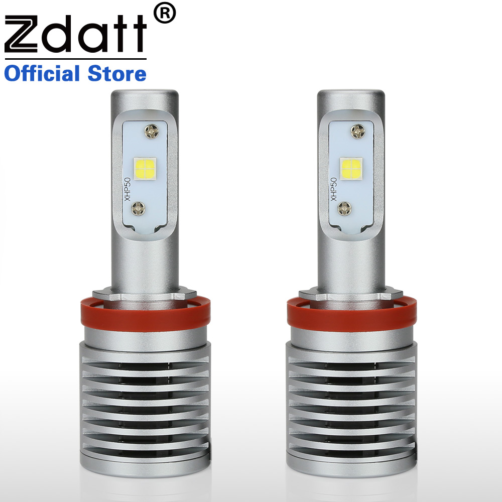 Zdatt 2Pcs High Power H11 Led Bulb XPH50 100W 14600LM Auto Headlights Led Light Car motorcycle Lamp 6000K White 12V Automobiles samsung clearcover чехол для galaxy a3 sm a310f black