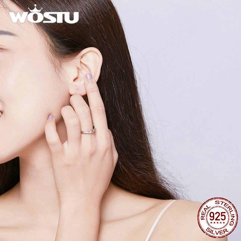 Женское серебряное кольцо WOSTU, настоящее кольцо на палец 925 пробы, 2019, Новое поступление, прозрачные маленькие циркониевые кольца, подарок на помолвку, CQR541
