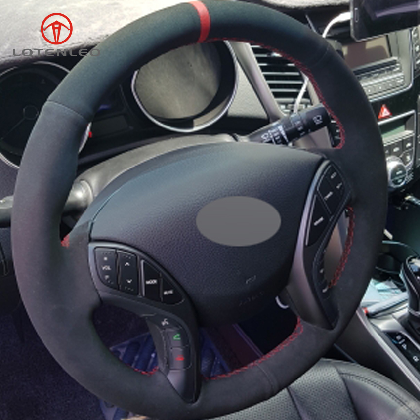 LQTENLEO Black Suede DIY Hand stitched Steering Wheel Cover for Hyundai Elantra 2011 2016 Avante i30 2012 2016-in Steering Covers from Automobiles & Motorcycles    1