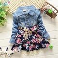 2016 весной и летом новые Корейские девушки с длинными рукавами цветочные платья мода джинсовая dot детская одежда бесплатная доставка