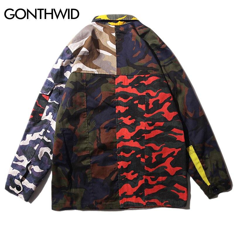GONTHWID Camo camuflaje bloque de Color Patchwork coachs chaquetas Hip Hop  Casual Chaqueta de algodón abrigos 2018 otoño moda Streetwear en Chaquetas  de La ... 5eb79110b63