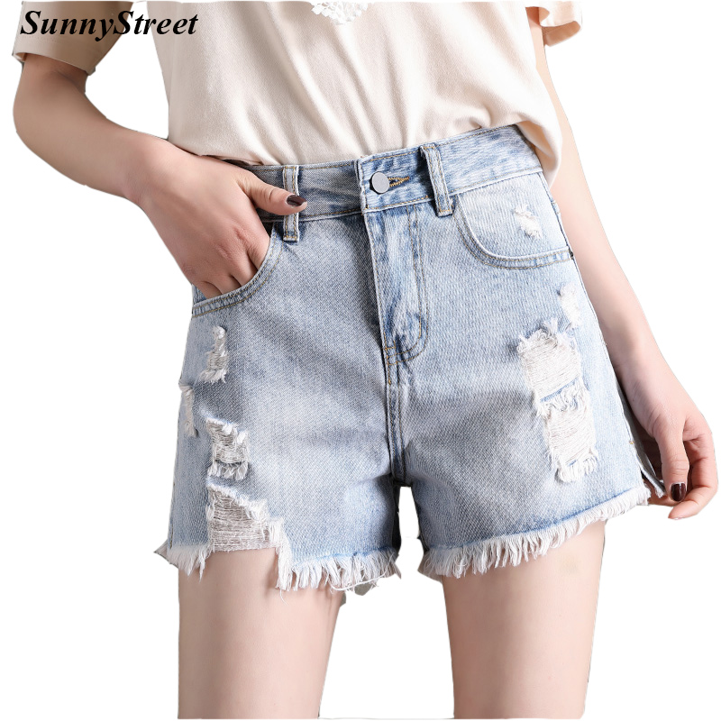 Ladies Short Pant Denim Jeans Grind Front Enzyme Stone Wash Single Button Light Blue