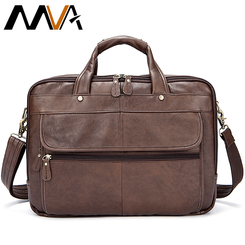 Men's Genuine Leather Briefcase 14'' Laptop Tote Bags Double Layer Messenger Bag Men Leather Busiess Briefcase Bags For Men 8897