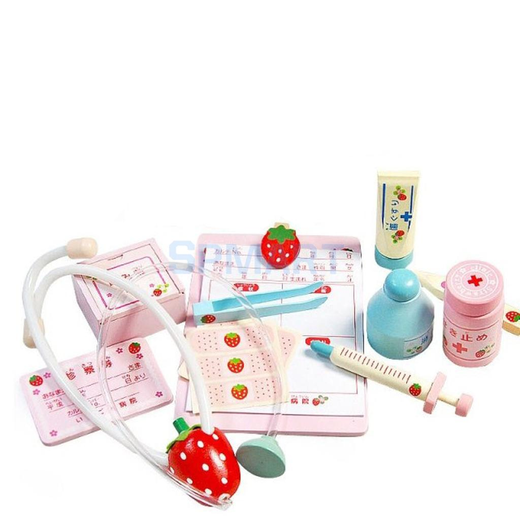 Children Wooden Doctor Medical Set Kids Role Play Pretend Game Carry Case