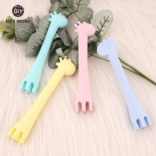 Let's make 10pc Baby Silicone Giraffe Spoon And Feeding Fork Two In One Safety Tableware Infant Learning Spoons Teething Spoons